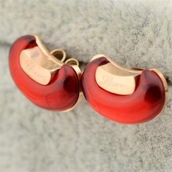 【米蘭精品】玫瑰金耳環耳針式925純銀精巧可愛相思豆