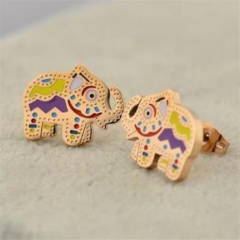 【米蘭精品】玫瑰金耳環耳針式925純銀彩色小象可愛