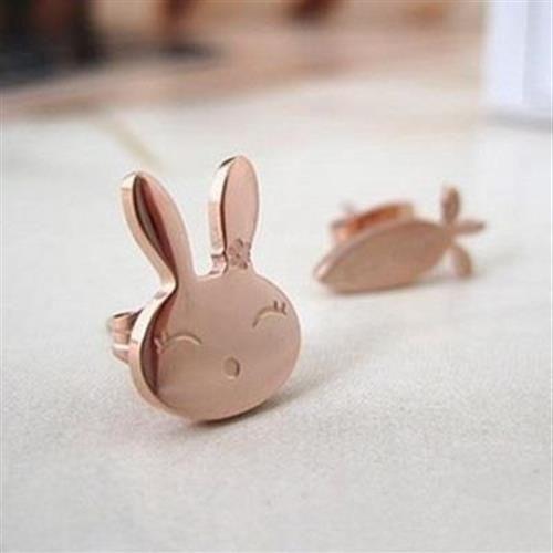 【米蘭精品】玫瑰金耳環耳針式925純銀可愛小兔紅蘿蔔