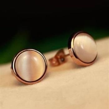 【米蘭精品】玫瑰金貓眼石耳環耳針式925純銀氣質精選