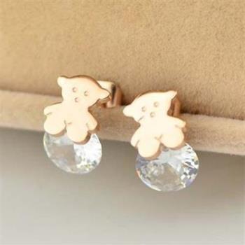 【米蘭精品】玫瑰金水晶耳環耳針式925純銀可愛小熊