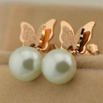 【米蘭精品】玫瑰金珍珠耳環耳針式925純銀磨砂蝴蝶