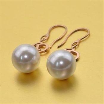 【米蘭精品】玫瑰金珍珠耳環耳勾式925純銀氣質精選
