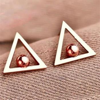 【米蘭精品】玫瑰金耳環耳針式925純銀三角形圓珠