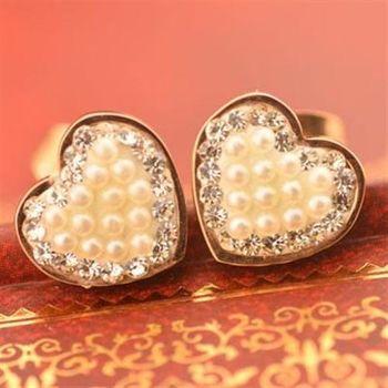 【米蘭精品】玫瑰金鑲鑽耳環耳針式925純銀珍珠愛心