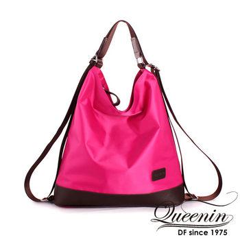 DF Queenin日韓 - 女王新時尚光感尼龍3用式後背包-共4色