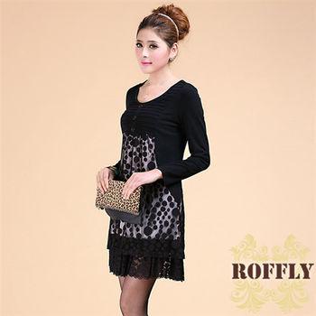 【ROFFLY蘿芙莉】9A16A07-中大尺碼-透視性感精緻蕾絲點點小洋裝