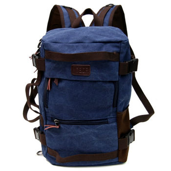 MAKSIM 多功能潮流後背包.帆布側背包.旅行袋.平板電腦包(1029寶藍)