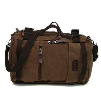 MAKSIM 多功能潮流後背包.帆布側背包.旅行袋.平板電腦包(1029咖)