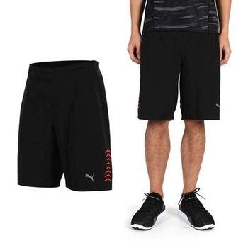 【PUMA】男慢跑系列7吋運動短褲-健身 路跑 休閒短褲 黑橘紅  腰帶附可調式拉繩