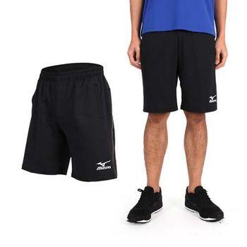 【MIZUNO】男針織短褲- 慢跑 路跑 美津濃 黑金  兩側口袋