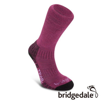Bridgedale 英國機能襪-Trail 山徑 羊毛健行襪-薄 女(草莓紅)L