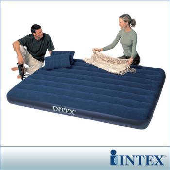 【INTEX】雙人加大植絨充氣床墊(寬152cm) 附手壓幫浦+枕頭*2
