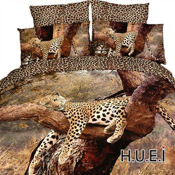 生活提案 精梳棉 3D印染 被套床包組 雙人四件式-樹上豹子