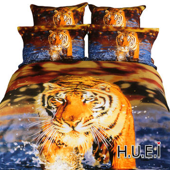 生活提案 精梳棉 3D印染 被套床包組 雙人四件式-水中老虎