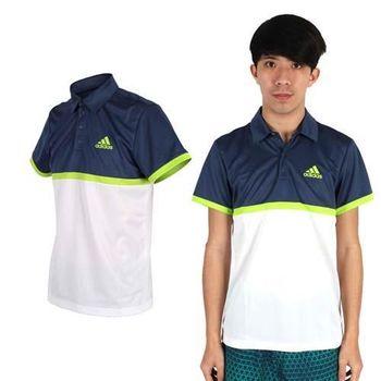 【ADIDAS】男短袖POLO衫 -高爾夫球 立領 休閒 健身 愛迪達 丈青白綠  100%聚酯纖維