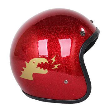 agnes b. 金色 SPORT b.恐龍 logo安全帽(亮粉/紅)