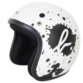agnes b.  SPORT b. logo皮質潑漆安全帽(白底黑潑墨)