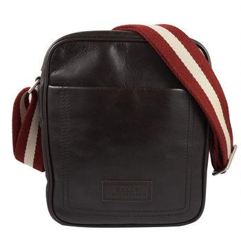 BALLY 6192939 經典LOGO小牛皮紅白紅織帶斜背包.深咖