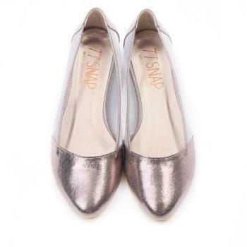 TTSNAP內增高-MIT素面小尖頭透膚網紗平底鞋-黑/金/銀/錫