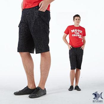 【NST Jeans】390(9332) 埃及圖騰印花 側袋 休閒短褲(中腰鬆緊帶修身版)