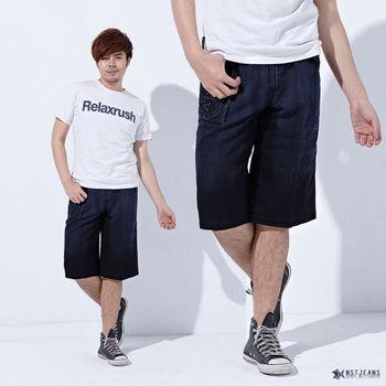 【NST Jeans】002(9337)拼接側袋立體文字 牛仔短褲 (中高腰鬆緊帶寬版)