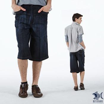 【NST Jeans】002(9343)側邊流線圖騰 七分牛仔短褲 (中高腰鬆緊帶寬版)