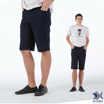 【NST Jeans】390(9350) 獨特 藍黑相間 直紋 休閒短褲 (中腰)
