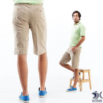 【NST Jeans】390(9352) 夏季風尚 亮澤卡其 休閒短褲 (中腰) 兩色可選 黑/卡其