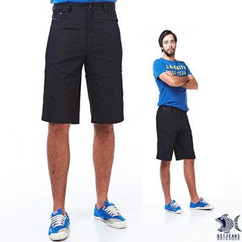 【NST Jeans】390(9353) 拼接設計 亮麗黑 休閒短褲 (中腰) 兩色可選 黑/卡其