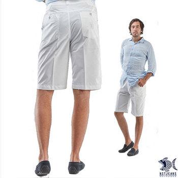 【NST Jeans】390(9360) 存菁白色印花_休閒短褲(中腰鬆緊帶修身版)