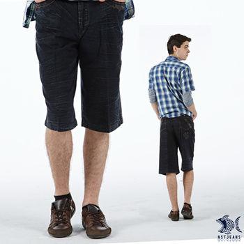 【NST Jeans】002(9363) 猛禽意象 七分牛仔短褲(中高腰鬆緊帶寬版)