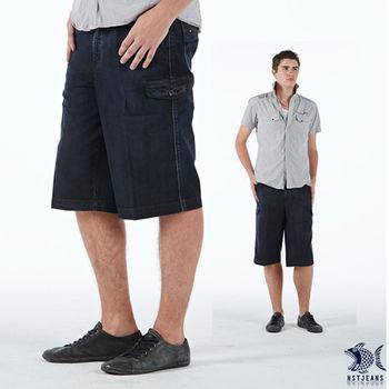 【NST Jeans】002(9365) 側邊口袋 七分牛仔短褲(中高腰鬆緊帶寬版)