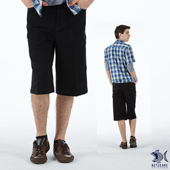 【NST Jeans】002(9366) 側邊口袋 七分黑色短褲(中高腰鬆緊帶寬版)