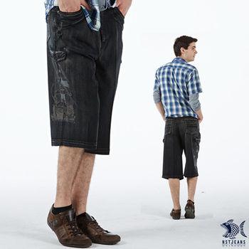 【NST Jeans】002(9368) 竹籤纖維 側袋 立體帆船 七分牛仔短褲(中高腰鬆緊帶寬版)