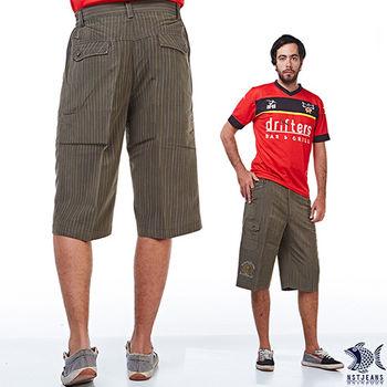 【NST Jeans】002(9369) 飛鷹祕魯褐直紋 鬆緊工作短褲(中高腰鬆緊寬版)兩色可選 祕魯褐/黑直紋