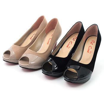 【 cher美鞋】雙感皮革露趾錐型高跟鞋.(黑絨/駱絨)891-73