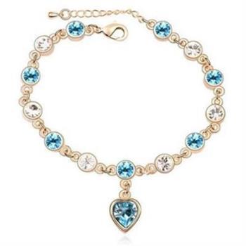 【米蘭精品】925純銀水晶手鍊銀飾柔美心型風格