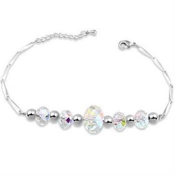 【米蘭精品】925純銀水晶手鍊銀飾精選高貴時尚流行