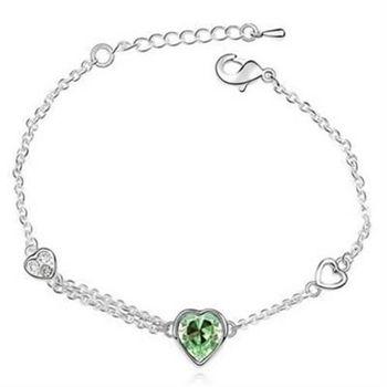 【米蘭精品】925純銀水晶手鍊銀飾唯美愛心風格