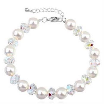 【米蘭精品】925純銀水晶手鍊銀飾精選高貴時尚珍珠
