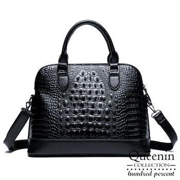 DF Queenin日韓 - 韓版鱷魚皮革壓紋2用式手提斜背包