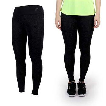 【ASICS】女印花緊身褲- 慢跑 路跑 緊身長褲 亞瑟士 黑灰  腰部彈性鬆緊帶附抽繩