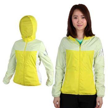 【ADIDAS】女連帽風衣外套- 防風 愛迪達 黃  內裡網布設計
