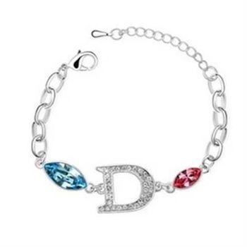 【米蘭精品】925純銀水晶手鍊銀飾獨特時尚英文字母造型
