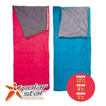 PolarStar 寬版兩用舒適睡袋 (可當6x7尺棉被。親子睡袋) 紅/藍兩色 露營 P15724