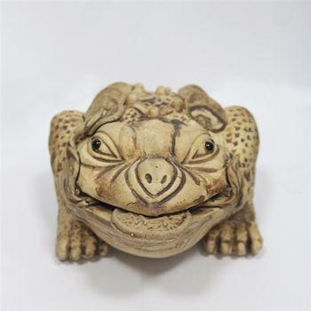【騰觀開運精品館】開運招財富貴吉祥神獸-三腳蟾蜍(石灣陶)