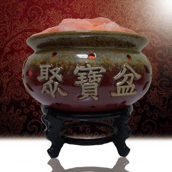 【好運到】大聚寶盆招財鹽燈(含座)(A1)
