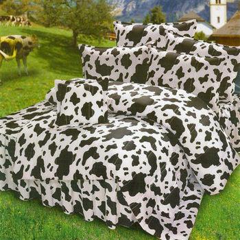 艾莉絲-貝倫 乳牛森林(6.0x7.0呎)四件式雙人特大(高級混紡棉)鋪棉兩用被床包組