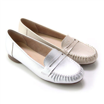 【GREEN PHOENIX】漫步旅行極簡寬版帶金屬珠光全真皮平底休閒鞋-金色、銀色